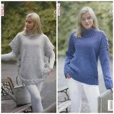 b144cf1db4f5a5 KNITTING PATTERN Ladies Lace Cable Poncho   Cable Jumper Aran King Cole 5154