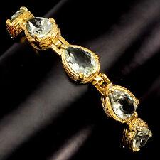 925 Silber Armband, 5 St. Amethyst 12x8mm, 2-tone Gelbgold & Weißgold vergoldet