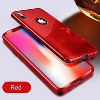 Custodia Protezione Integrale per IPHONE 7 a Specchio Colore Rosso + Vetro
