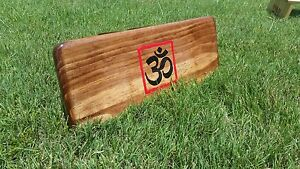 Hand Crafted Chestnut Stain Pi Meditation Bench With Hand Painted OM
