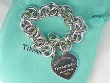 """Authentic Tiffany & Co. Heart Tag Charm Sterling Silver .925 Bracelet Chain - 7"""""""