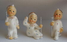 3 Vintage Boy Angel Figurines With Star Staff Bitsy Pattern Gown Napco ? HTF