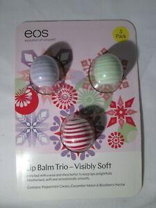 EOS Lip Balm Trio Gift Set. 3 x 7g. Peppermint, Cucumber, Blackberry. BNIB