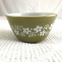 Pyrex Olive Green 750ml Mixing Bowl White Floral Spring Blossom Crazy Daisy Band