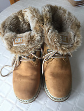 CAT WALKING MACHINE WORK EQUIPMENT FUR LINED BOOTS - TAN - SIZE UK 5 WIDE FIT