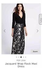 PER UNA JACQUARD WRAP FLOCK LONG MAXI DRESS BLACK SILVER SIZE 8 Regular RRP £89