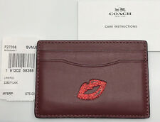 Coach Red LIPS Flat Credit Card Case Holder Multi Color Leather GIFT BOX NWT $75