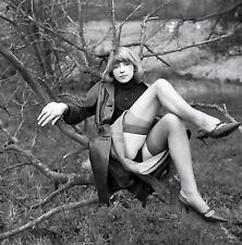 50s UK pinup sitting in tree skirt jacked up Blk hose & heels 5 x 5 Photograph