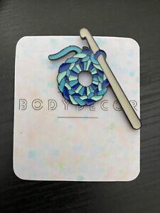 Blue Woolen Crochet Knit Enamel Pin Brooch Badge Quirky Cute