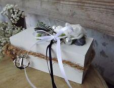 Ringkissen Ringhalter Holz blau weiß maritim für Eheringe Hochzeit Muscheln