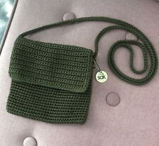 The Sak Green Small Messenger Bag Crotchet