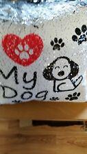I LOVE MY DOG  SEQUIN MAGIC   CUSHION PERSONALISED FREE
