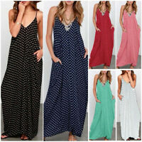 Women Loose Polka Dot Spaghetti Strap Deep V-neck Long Maxi Loose Dress Fashion