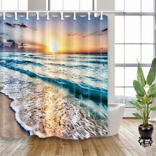 "Beach Sea Wave Sunshine Waterproof Fabric Bathroom Shower Curtain & 12 Hooks 71"""
