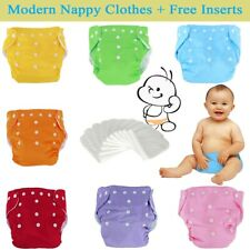 Washable Cloth Diapers Adjustable Reusable Nappies SET 5 Diapers + 5 Inserts