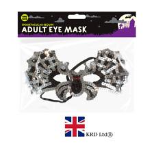 BLACK SEQUIN BAT MASK Masquerade Ball Halloween Gothic Fancy Dress Accessory UK