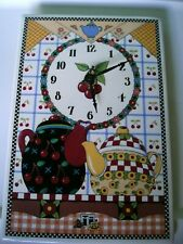 Mary Engelbreit 1994 Ceramic Cherries & Teapots Wall Clock Santa Barbara Design