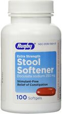 Rugby Stool Softener Docusate Sodium 250mg Soft Gels 100 ea (Pack of 5)