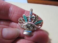 """tac pin broach brooch Vintage goldtone 1"""" basket"""