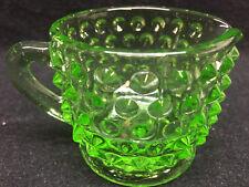 Green Vaseline glass Hobnail pattern tea Pitcher / Uranium coffee creamer syrup