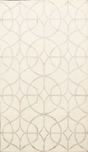 Modern Circled IVORY/SILVER 5'x8' Indian Trellis Oriental Area Rug Hand-Tufted