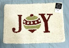 Christmas Joy Holiday Pillow Zipper Cover 13 X 19 Hooked Lumbar