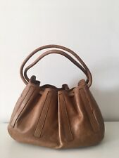Sergio Rossi Tan Brown Distressed Leather Small Bag With Little Coin Holder