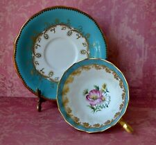 Aynsley Tea Cup and Saucer Set Turquoise Blue Flowers Gold Gilded bone china