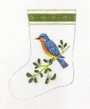Anne Brinkley Bluebird Mini Stocking Handpainted Needlepoint Canvas 18 Mesh