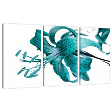 3 Piece Teal Floral Canvas Art Wall Pictures Set Green Blue Print 3054