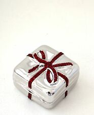 Yy Judith Leiber PillBox Gift Wrapped BOX Silver RED Siam VALENTINE Lieber