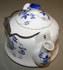 Blue & White Ceramic Teapot Metal Handle Spiral Grip
