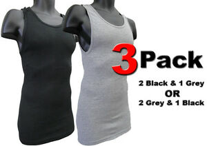 3 Men's Black Gray Ribbed Tank Top Undershirt A-Shirt Wife Beater 100% COTTON