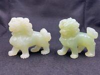 "Pair of Vintage Chinese Natural Celery Green Jade Jadeite Foo Dogs Lions 2.5"""