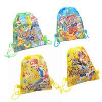 HOT Anime Pokemon Drawstring Children Backpack Portable Bag Spring Outing Bag