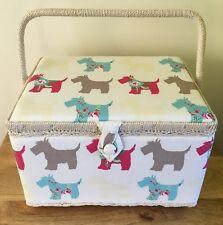 SEWING BOX BASKET Large & Medium available 'SCOTTIE DOG' DESIGN SUPER QUALITY