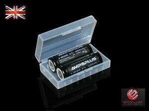 2x 18500 Battery Li-ion 3.7V 1200mAh 12A IMR Flat Top Genuine Ampsplus UK + case