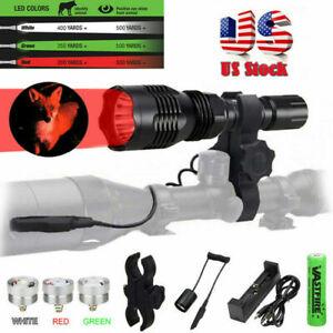 Tactical LED Beam Hunting Light Spotlight Hog Predator Flashlight Mount Torch