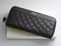 H3669M Authentic BALLY Quilting Genuine Leather Zip-Around Long Wallet