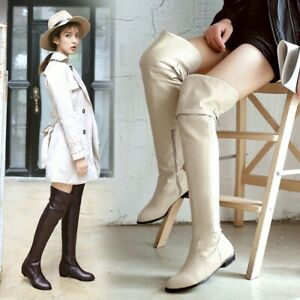 US 3-13 Evening Clubwear Womens Over the Knee High Boots Round toe Casual Shoes