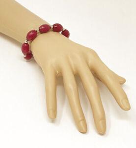 Handmade Faceted Red Rhodochrosite Stone Silver Tone Bead Stretch Bracelet