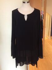 Joseph Ribkoff Top Size 12 Black Pleated Trim Now