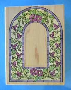 Lg STAINED GLASS MORNING GLORY ARCH Rubber Stamp FLOWER WINDOW