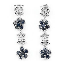 Round 2mmTop Rich Blue Sapphire 925 Sterling Silver Flower Cluster Drop Earrings