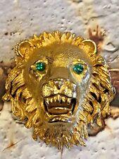 VINTAGE HATTIE CARNEGIE ROARING LION HEAD BROOCH PIN SIGNED