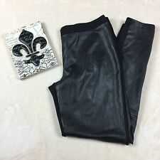 Decree Leggings Size L Womens Black Moto Faux Leather Stretch Waist Band