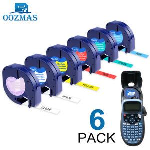 6PK 16952 91331 Plastic Tape Compatible DYMO Letratag Label Maker 12mm LT-100H