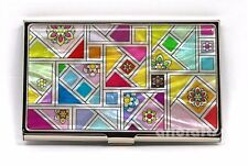 Business Credit Card Case Name ID Cash Money Holder Wallet Mother of Pearl Nacre