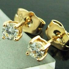 STUD EARRINGS REAL 18K YELLOW G/F GOLD GENUINE DIAMOND SIMULATED CLASSIC DESIGN