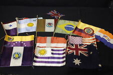 Lot of 13 International Assorted Vintage Silk Mini Parade Souvenir Flags